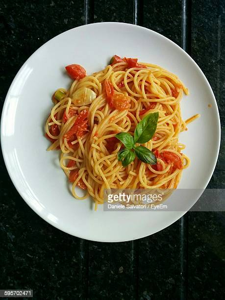 Directly Above Shot Of Spaghetti In Plate On Table