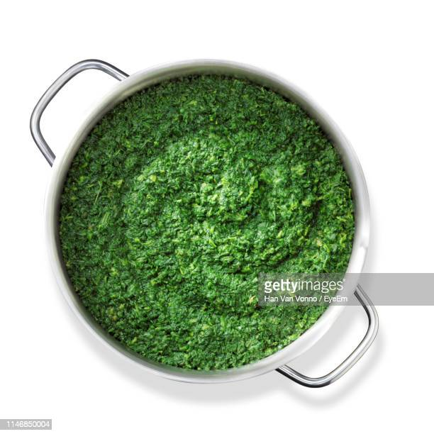 directly above shot of spinach in stew pot on white background - stew pot stock pictures, royalty-free photos & images