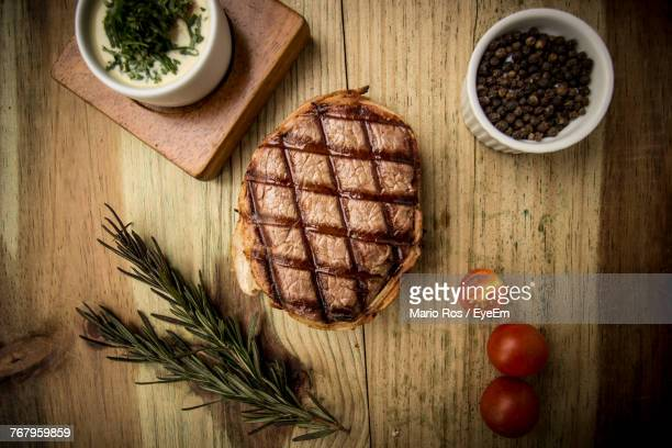 Directly Above Shot Of Steak On Cutting Board