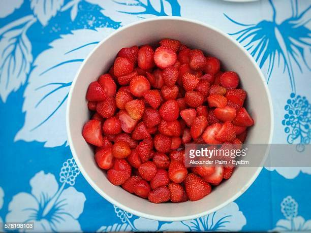 Directly Above Shot Of Strawberry Slices In Bowl On Table