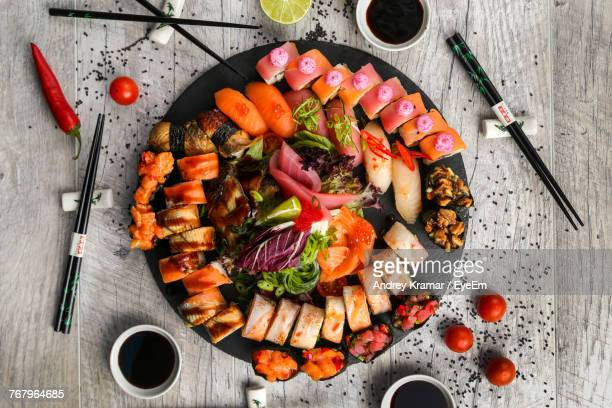 directly above shot of sushi on table - japanese food stock pictures, royalty-free photos & images