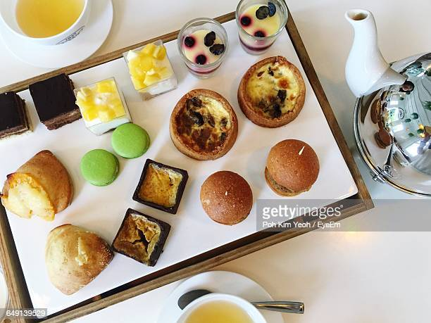 Directly Above Shot Of Tea And Various Dessert Served On Table