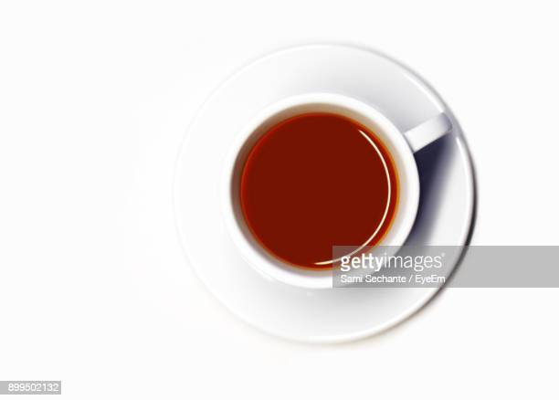 Directly Above Shot Of Tea Over White Background