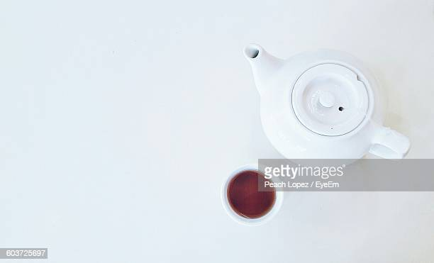 Directly Above Shot Of Teapot On White Background
