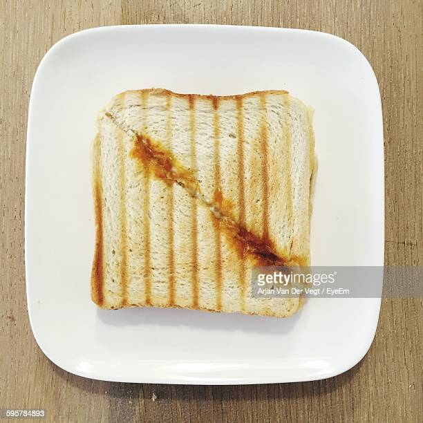 Directly Above Shot Of Toasted Bread On Plate