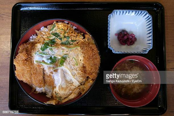 Directly Above Shot Of Tonkatsu And Katsudon Served In Tray