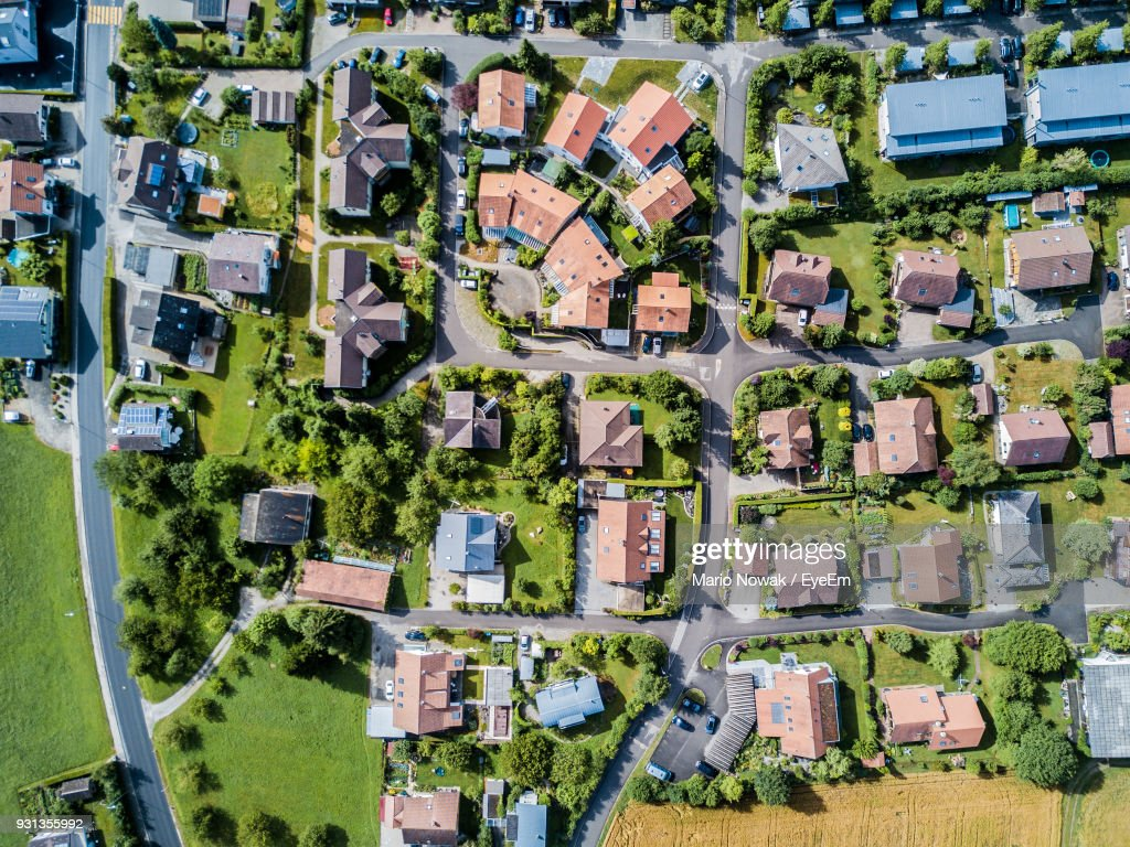 Directly Above Shot Of Townscape : Stock Photo