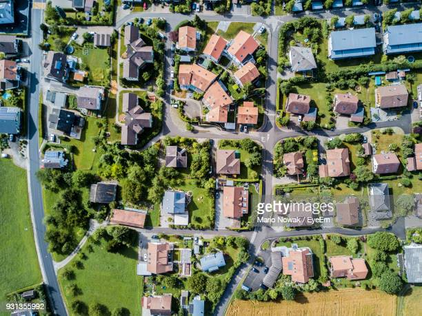directly above shot of townscape - town stock pictures, royalty-free photos & images