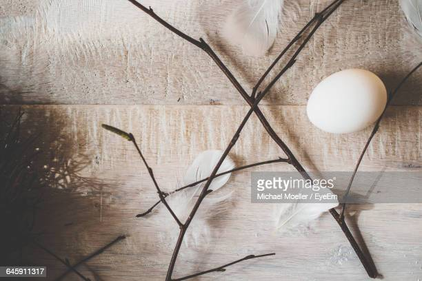 Directly Above Shot Of Twigs With Feathers And Egg On Table During Easter