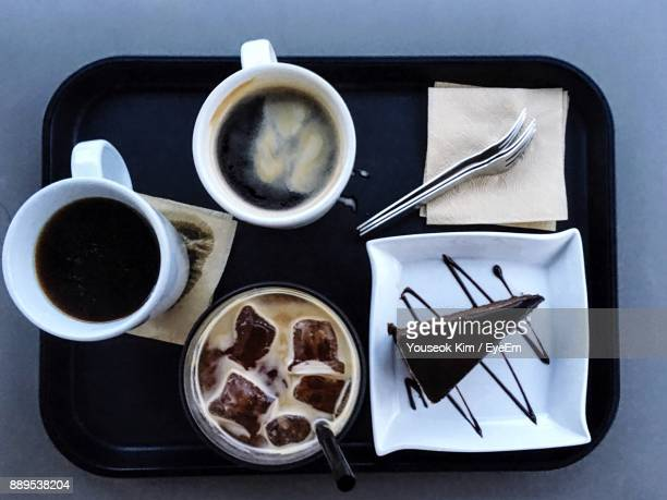 Directly Above Shot Of Various Coffee On Table