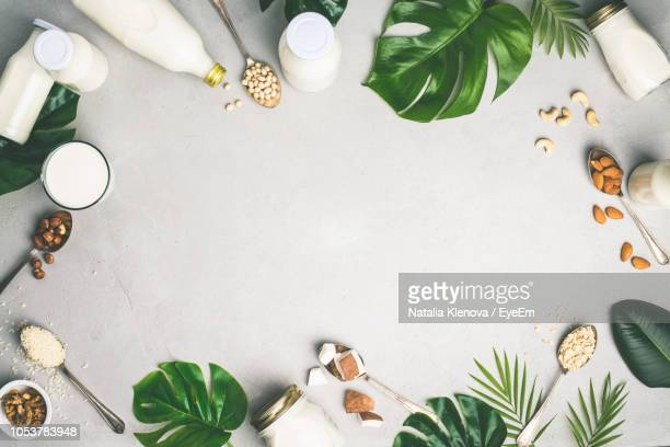 directly above shot of various food and leaves over white background - arrangement stock pictures, royalty-free photos & images
