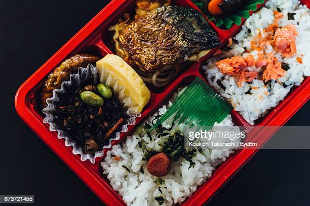 Directly Above Shot Of Various Food In Lunch Box