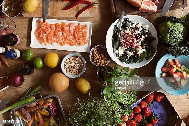 Directly above shot of various food on table in kitchen