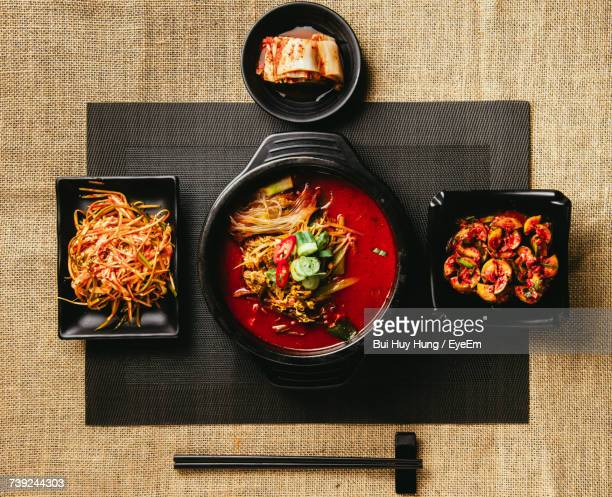 directly above shot of various food on table - korean food stock pictures, royalty-free photos & images