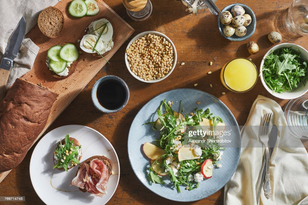 Directly above shot of various food on table : Stock Photo