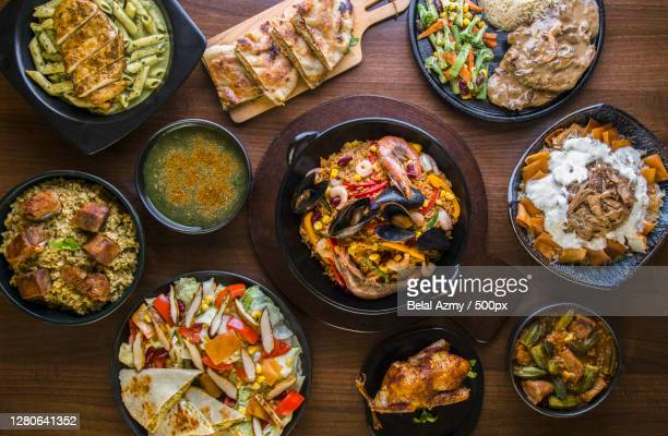 directly above shot of various food served on table, cairo, cairo governorate, egypt - egypt stock pictures, royalty-free photos & images