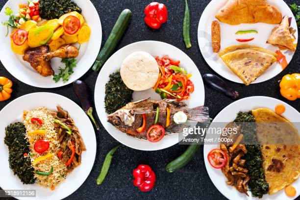 directly above shot of various food served on table,nairobi,kenya - nairobi stock pictures, royalty-free photos & images