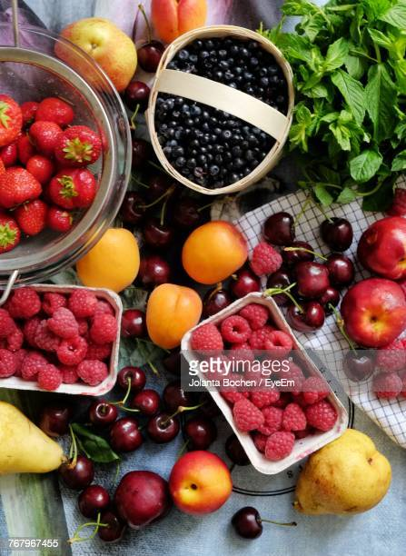 Directly Above Shot Of Various Fruits On Table
