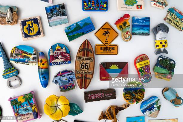 directly above shot of various picture frame on white background - souvenir stock pictures, royalty-free photos & images