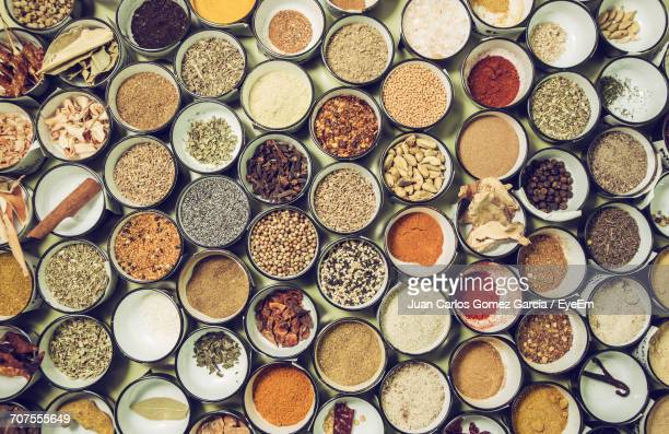 Directly Above Shot Of Various Spices In Bowls On Table