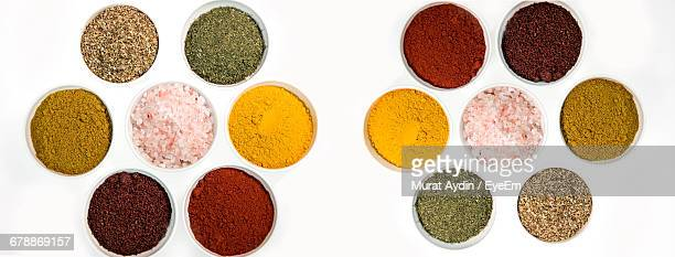 Directly Above Shot Of Various Spices On White Background