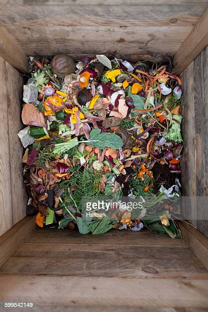 Directly above shot of vegetable waste in wooden container
