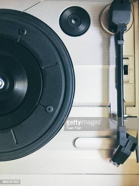 Directly above shot of vinyl record player