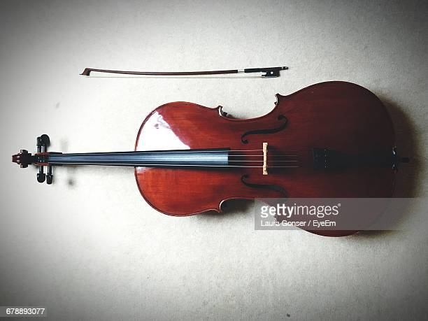 Directly Above Shot Of Violin On Table