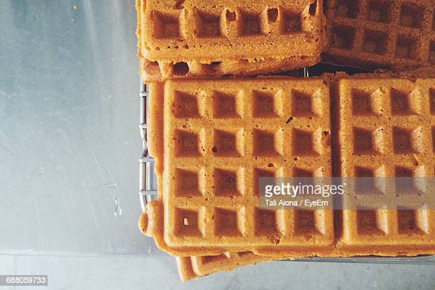 directly above shot of waffles on table - waffle stock photos and pictures