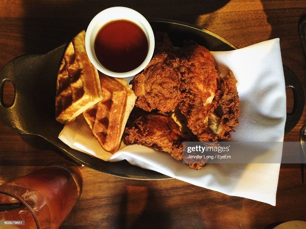 Directly Above Shot Of Waffles With Fried Chicken And Coffee In Plate : Stock Photo