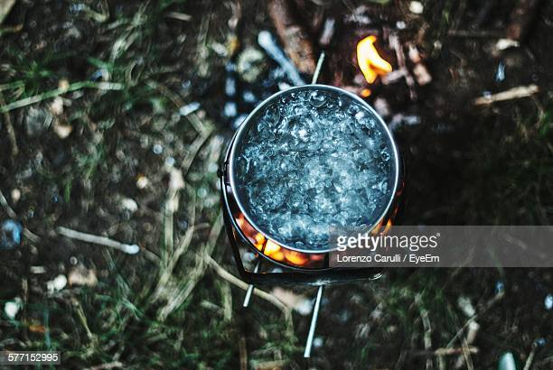 Directly Above Shot Of Water Boiling Camping Stove