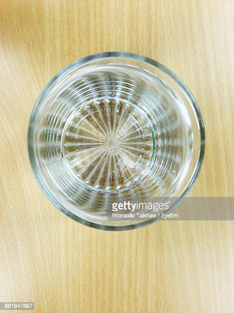 Directly Above Shot Of Water In Glass On Table