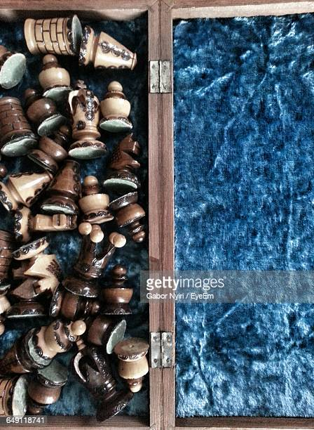 Directly Above Shot Of Wooden Chess Pieces In Box