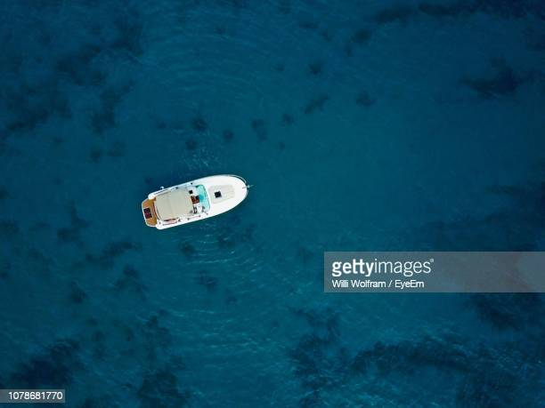 Directly Above Shot Of Yacht On Sea