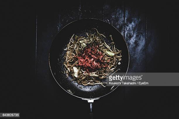 Directly Above Shot Of Yakisoba In Cooking Pan On Table