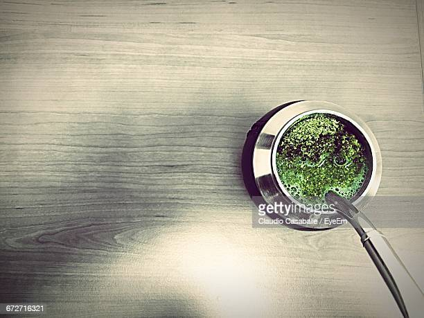 Directly Above Shot Of Yerba Mate On Table