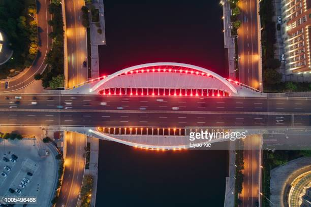 Directly above the bridge