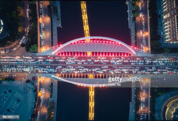 Directly above the bridge, stacking 50 images overlay