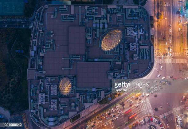 directly above the business building - liyao xie stock pictures, royalty-free photos & images