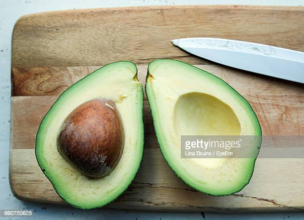 Directly Above View Of Avocado On Cutting Board