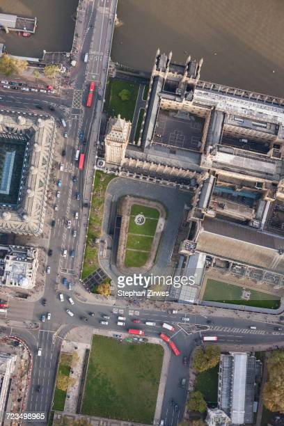 Directly above view of Big Ben and Westminster Bridge by Thames River, London, England, UK