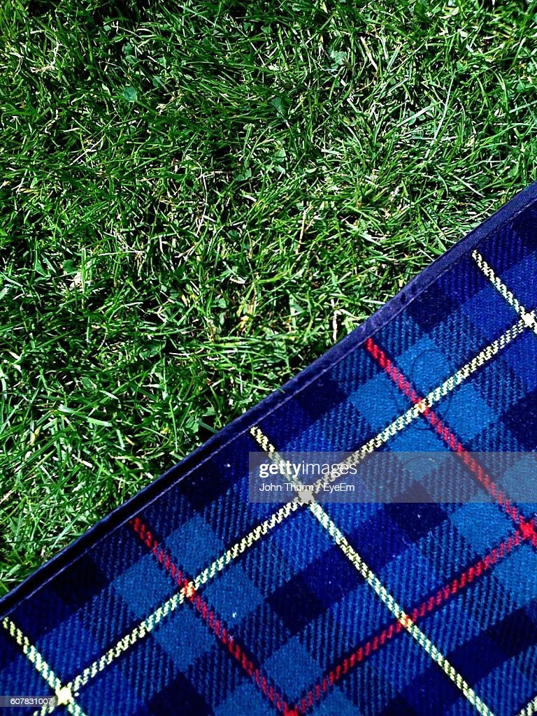 grass field from above. Grass Field From Above. Directly Above View Of Blue Picnic Blanket On  Grassy