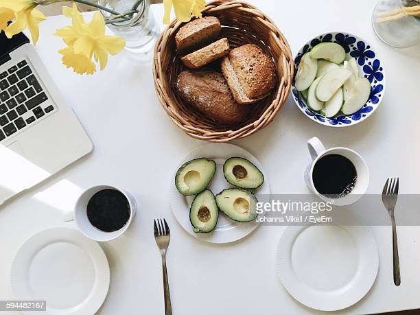 Directly Above View Of Breakfast On Table