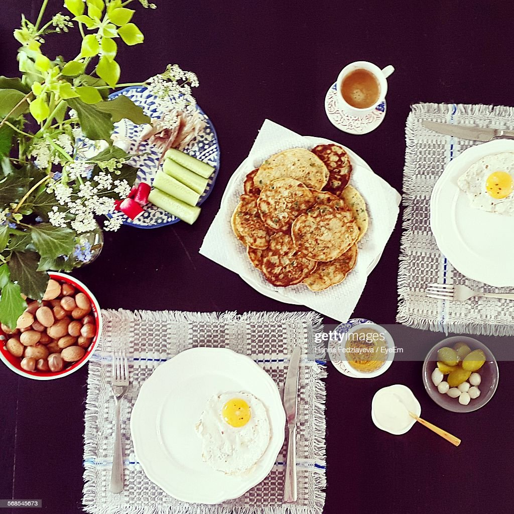Directly Above View Of Breakfast Served On Table : Stock Photo