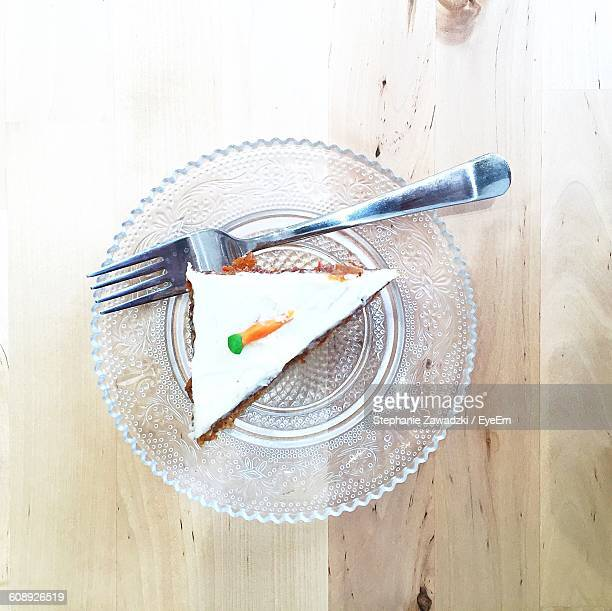 Directly Above View Of Cake In Plate