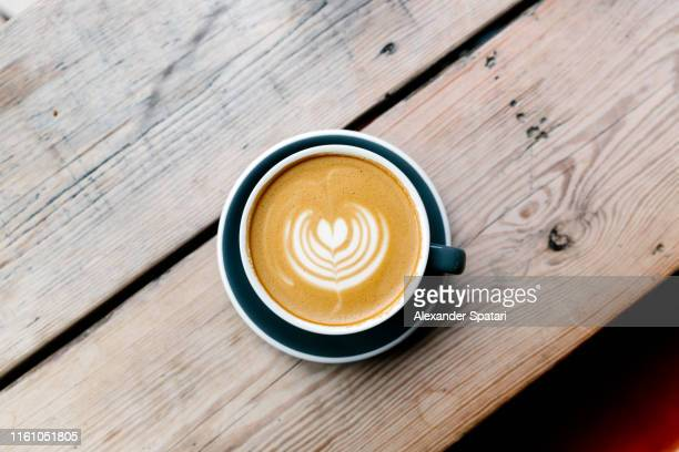 directly above view of cappuccino latte art - coffee stock pictures, royalty-free photos & images