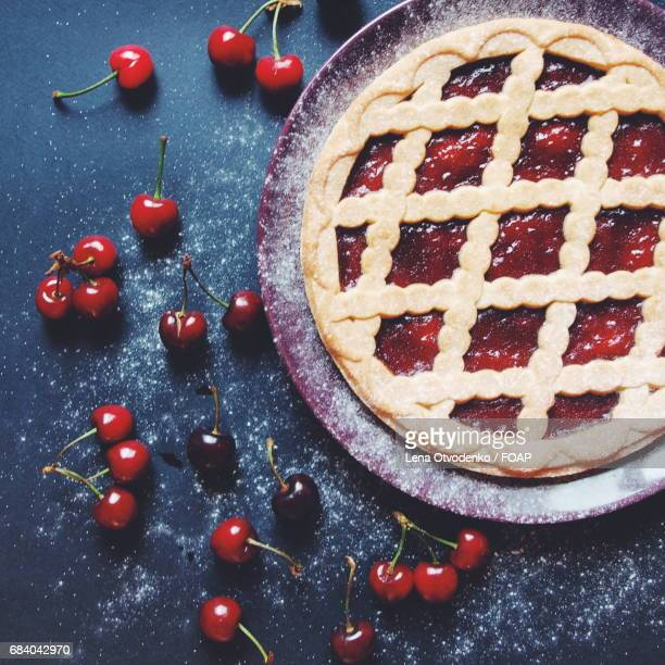 Directly above view of cherry pie