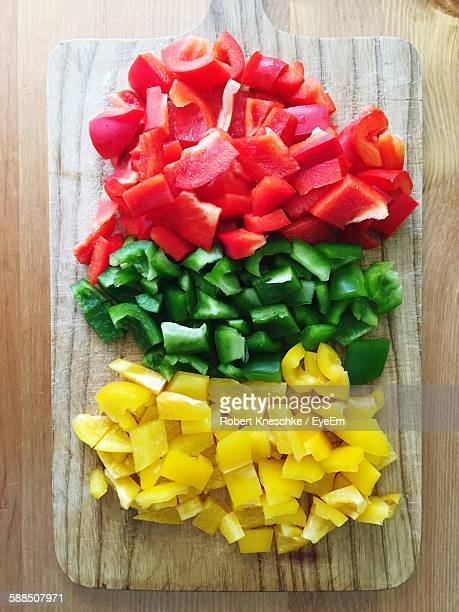 Directly Above View Of Chopped Fresh Bell Peppers On Cutting Board