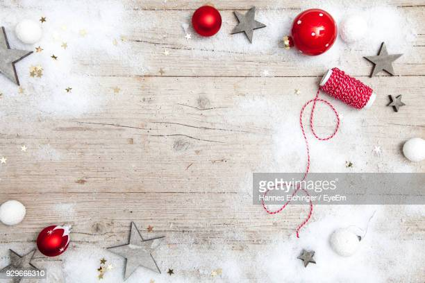 Directly Above View Of Christmas Decorations On Table