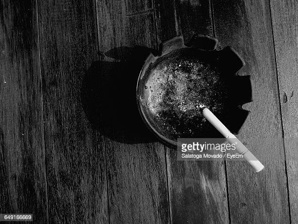Directly Above View Of Cigarette On Ashtray